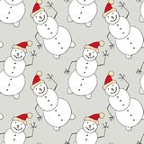 Christmas seamless pattern with snowman. New Year design for wallpaper, wrapping paper, winter textile decorations. Royalty Free Stock Photography