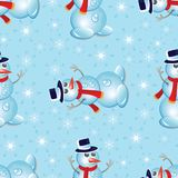Christmas seamless pattern with snowman and snowflakes. EPS 10 Stock Image