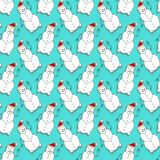 Christmas seamless pattern with snowman on turquoise backdrop. New Year design for wallpaper, textile and wrapping paper Stock Image