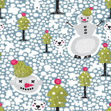 Christmas seamless pattern with snowman. Royalty Free Stock Photos
