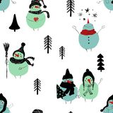 Christmas Seamless Pattern Of Snowmans. Royalty Free Stock Photos