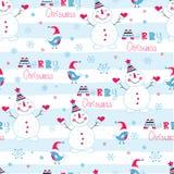 Christmas seamless pattern with snowmen, birds and lettering. Christmas seamless pattern with snowmen, birds ,lettering and snowflakes Royalty Free Stock Photos