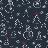 Christmas seamless pattern with snowmen, fir tree and snowflakes. Happy New Year 2018. Wrapping paper. Hand drawn winter elements. Doodles, sketch for your Stock Photos