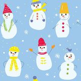 Christmas seamless pattern with snowmen and snowflakes, funny design. Stock Image