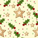Christmas seamless pattern with spruce branches holly berries and stars vector illustration winter holiday xmas wrapping. Paper. Season festive fabric ornament Stock Photo