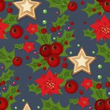 Christmas seamless pattern with spruce branches holly berries and stars vector illustration winter holiday xmas wrapping. Paper. Season festive fabric ornament Royalty Free Stock Images