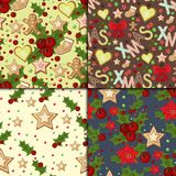 Christmas seamless pattern with spruce branches holly berries and stars vector illustration winter holiday xmas wrapping. Paper. Season festive fabric ornament Stock Photos