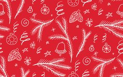 Christmas seamless pattern with spruce branches, snowflakes and ornaments in rustic style. Stock Photography