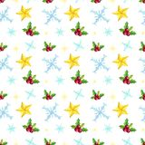 Christmas seamless pattern with stars, snowflakes, mistletoe on white background. Hand drawn Xmas elements. Winter background Stock Photos