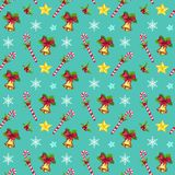 Christmas seamless pattern with stars, snowflakes, Xmas bells and candies. On green background. Hand drawn elements Royalty Free Stock Photography