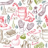 Christmas seamless pattern, texture, hand drawing sketch illustration. Vector Collection of sketch object for new year and Christm Royalty Free Stock Images