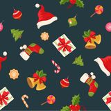Christmas seamless pattern texture with objects Stock Image