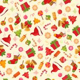 Christmas seamless pattern texture with objects Royalty Free Stock Photography