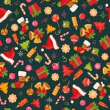 Christmas seamless pattern texture with objects Stock Images