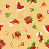 Christmas seamless pattern texture with objects and text Royalty Free Stock Photography