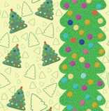 Christmas seamless pattern with tree. Stock Photos