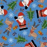 Christmas seamless pattern. Christmas tree, deer and Santa Claus seamless pattern Royalty Free Illustration