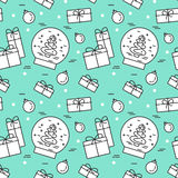 Christmas seamless pattern with tree, gifts, decorations Linear stile. Christmas and New Year seamless pattern with glass ball, gifts, decorations. Vector linear royalty free illustration