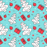 Christmas seamless pattern with tree, gifts, decorations Linear stile. Christmas and New Year seamless pattern with tree, gifts, decorations. Vector linear stock illustration