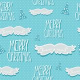 Christmas seamless pattern with tree and mustache Royalty Free Stock Photography
