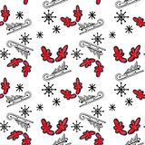 Christmas seamless pattern with tree on sled, red horns and snowflakes on white background. vector illustration