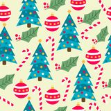 Christmas seamless pattern with Christmas trees, globes, candy stock illustration