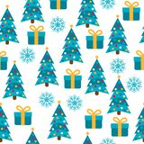 Christmas seamless pattern with Christmas trees, presents and sn vector illustration
