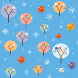 Christmas seamless pattern with trees and snowflakes Stock Images