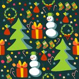 Christmas seamless pattern. With Christmas trees, snowmen and gifts Stock Images