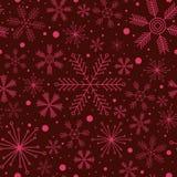 Christmas seamless pattern with various snowflakes on vinous background Stock Photos