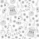 Christmas seamless pattern vector. Christmas seamless pattern with sweater, snowflake, gift, xmas decoration and mug of tea. Black and white. For coloring book stock illustration
