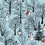 Christmas seamless pattern in vector. Vector seamless pattern with hand drawn cute snowmen in winter forest. Beautiful Christmas design elements, lovely Royalty Free Stock Photo