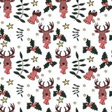 Christmas seamless pattern in vector with holiday signs and elements stock illustration