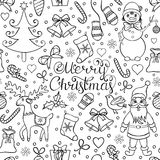 Christmas seamless pattern. Vector illustration of christmas seamless pattern.Coloring page for children and adult Stock Photos