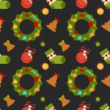 Christmas seamless pattern vector illustration. Christmas seamless pattern composed of gift boxes tied with ribbon, decorative toys for festive tree, delicious Royalty Free Stock Images