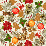 Christmas seamless pattern. Vector illustration. New year Stock Images