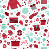 Christmas seamless pattern vector. Seamless pattern for Christmas in vector. Red and blue gifts, toys, branches and snowflakes on a white background. Festive Stock Images