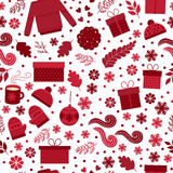 Christmas seamless pattern vector. Seamless pattern for Christmas in vector. Red gifts, toys, branches and snowflakes on a white background. Festive pattern for Stock Photo