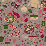Christmas seamless pattern vector. Seamless pattern for Christmas in vector. Red and green gifts, toys, branches and snowflakes. Festive pattern for fabric Royalty Free Stock Photography