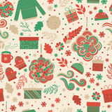 Christmas seamless pattern vector. Seamless pattern for Christmas in vector. Red and green gifts, toys, branches and snowflakes. Festive pattern for fabric Royalty Free Stock Photos