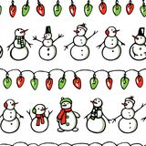 Christmas seamless pattern. Vector seamless pattern with hand drawn holiday festoons and cute snowmen. Beautiful Christmas and New Year design elements Stock Photos