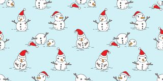 Christmas seamless pattern vector Snowman Santa Claus snow winter scarf isolated Holiday repeat tile background. Cartoon vector illustration