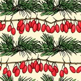 Christmas seamless pattern in vector. Vector seamless pattern with hand drawn pine twigs and barberry. Beautiful Christmas design elements Royalty Free Stock Photos
