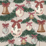 Christmas seamless pattern in vintage style Stock Photography