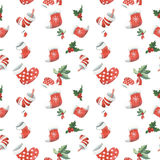 Christmas seamless pattern watercolor Stock Image