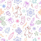 Christmas seamless pattern on white background. Illustration of christmas seamless pattern with differents elements on white background Royalty Free Stock Images