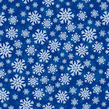 Christmas seamless pattern with white blue snowflakes. And layer substrate over dark blue Royalty Free Stock Image