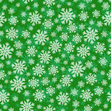 Christmas seamless pattern with white green snowflakes Royalty Free Stock Image