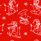 Christmas seamless pattern of white outline snowmen go skiing and snowboarding on a red background. Illustration stock illustration