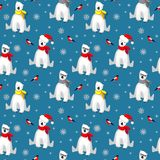 Christmas seamless pattern with white polar bear in scarf, snowflakes and bullfinch bird isolated on cold blue backgrouns. vector illustration